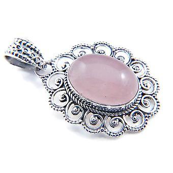 Amuleto de caneta de corrente prata 925 Sterling Silver Rose Quartz Pink Stone (Não: MAH 83-07)