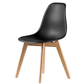 Étkező konyhai székek szett - 4 szék - fekete - fa és műanyag