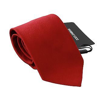 Red solid silk classic mens necktie accessory tie