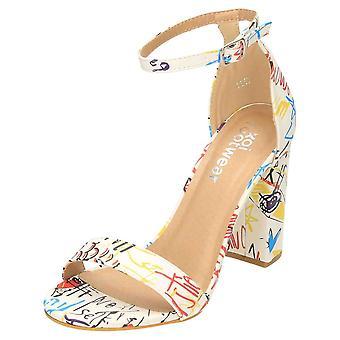 Koi Footwear Open Toe Ankle Strap Shoes Block Heel White Graffiti