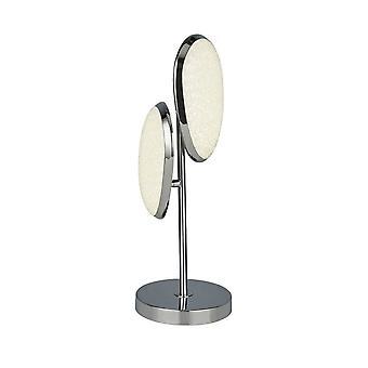 Suchscheinwerfer Lori 2 Licht LED Tischleuchte, Zerkleinerte EisEffekt Schatten, Chrom