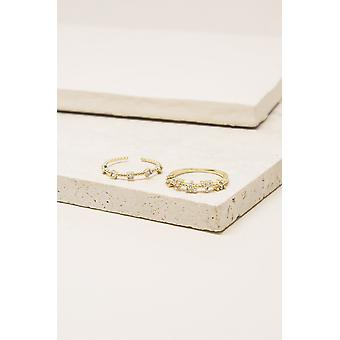 Stardom Stack 18k Gold Plated Ring Set Of 2
