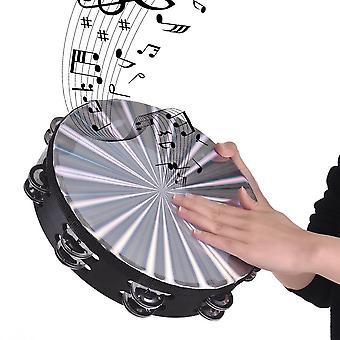 Puinen säteilevä tamburiini käsikello käsirumpu kahden rivin jingles musikaalilelu