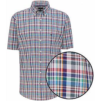FYNCH HATTON Fynch Hatton Mens Big Size Supersoft Cotton Check Button Down Collar Short Sleeve Shirt Blue