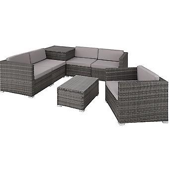 tectake Polyrattan Loungesæt Pisa - grå