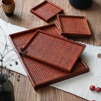 صينية تخزين الروطان الخشبية المصنوعة يدويا