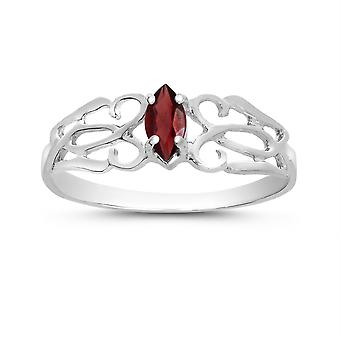 LXR 14k White Gold Marquise Garnet Filagree Ring 0.25 ct