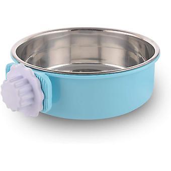 Bol bleu de crabot de caisse, tasse amovible d'alimentation en acier inoxydable d'eau