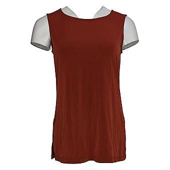 Susan Graver Women's Top Printed Sheer Shirt Tank Set Blue A367781