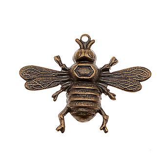 Final Sale - Vintaj Natural Brass Bumble Bee Stamping Pendant 26.5x33mm (1)