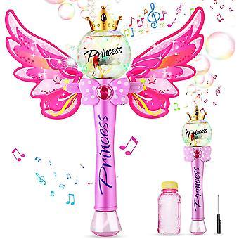 FengChun Seifenblasenmaschine, Zauberstab Bubble Machine mit Musik Licht für Mädchen Kinder, Magie