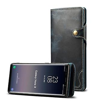 Aito nahkainen lompakkokotelon korttipaikka samsung note9 sininen no3731