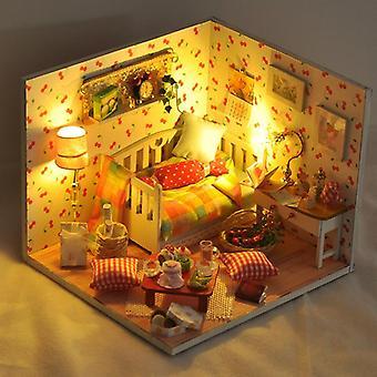 Nukkekodin miniatyyri huonekaluilla käsintehty puinen koottu joulun luova syntymäpäivälahja