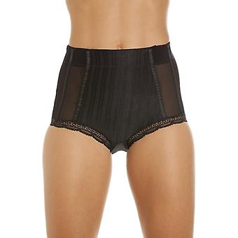 Camille Womens Black High Waisted Mesh Support Panel Control Briefs Pack Of 2