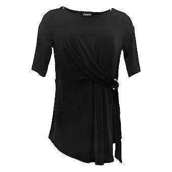 إيمان العالمية شيك المرأة الأعلى الفاخرة قصيرة الأكمام عقدة الجبهة الأسود 685794