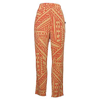 IMAN Global Chic Women's Pants Reg Printed Ankle Orange 742656