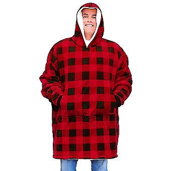 المتضخم كسول طباعة الدافئة هوديي الصوف سحب مع جيب للبالغين (منقوشة)