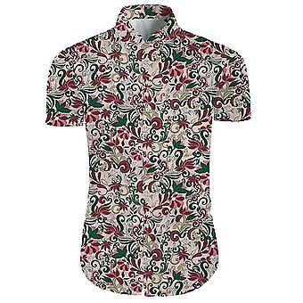 Mens 2 stuks 3d bloemen print casual button down korte mouw Hawaiiaanse shirt en shorts set in het licht