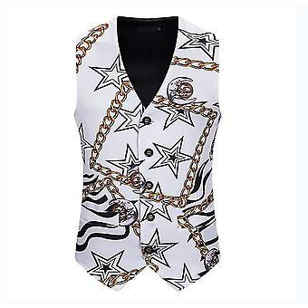 Pánská bílá hvězda s potiskem Jednořadová vesta Gothic Steampunk Victorian Brocade Vestcoat(S)
