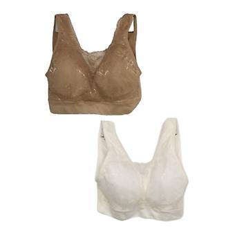 breezies kvinners bra reg sett med 2 blonder sømløs cami hvit a378013