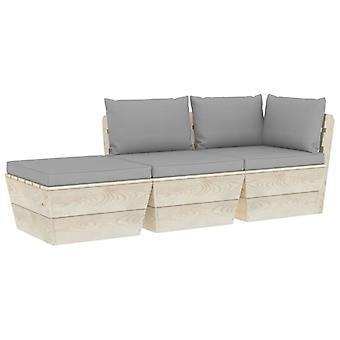 vidaXL 3-tlg. Jardin canapé-lit en palettes avec oreillers épicéa