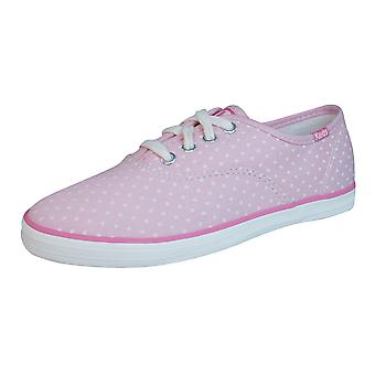 Keds Champion CVO Girls Lace Up Trainers / Shoes - Pink Hearts