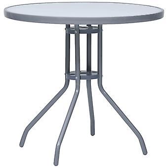 vidaXL Garden Table Light Grey 80 cm Steel and Glass