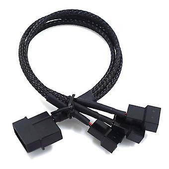 Cabo de extensão de ventilador de ventilador de 1 a 3 de 3 de 3 de 4 pinos PWM Splitter PC Fan Cable Preto