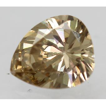 Cert 0.40 Carat Yel Brown VS2 Pear Enhanced Natural Loose Diamond 5.38x4.6mm