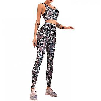 Beautiful Back High Waist Peach Pants Yoga Suit Two-piece Suit(L)