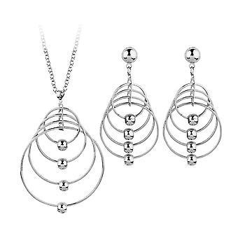 Runde Kreis Halskette und Ohrringe