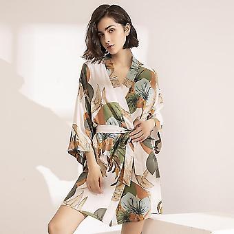 Gewaden vrouwen zijde satijn dunne gewaad comfort bloemen bedrukte nachtkleding nachtjapon sm163635