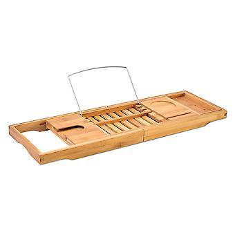 Organisateur de baignoire en bambou extensible de bac en bois de caddy
