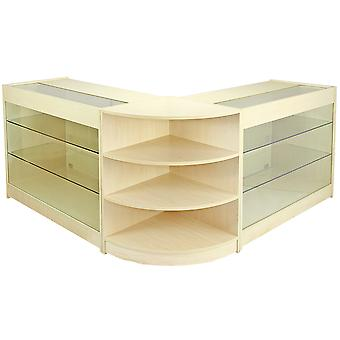 Shop Counter Retail Maple Shelves Storage Display Cabinet Showcase Glass Pulsar