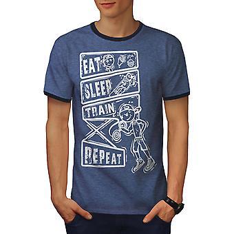 Eat Sleep Train Sport Men Heather Blue / NavyRinger T-shirt | Wellcoda