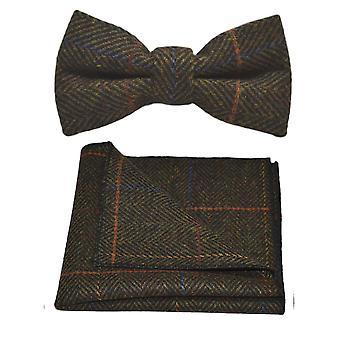 Luxe donker olijf groen Herringbone Check strikje & zak plein Set, Tweed