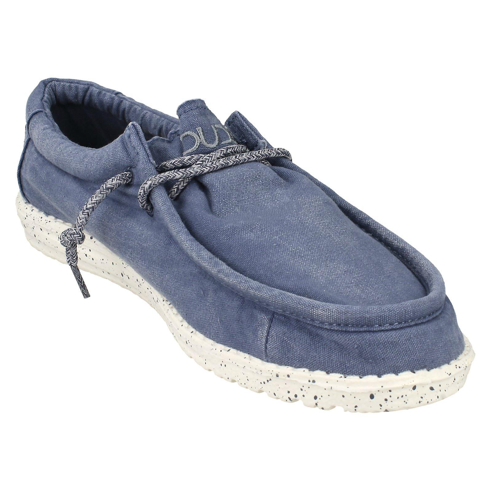 Mens Hey Dude Mokassin Schuhe Wally gewaschen Stahlblau Textil UK Größe 11 EU Größe 45 US Größe 12