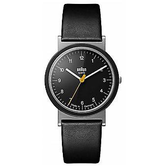 Braun klassieke 1989 Tribute Design zwart lederen riem zwarte wijzerplaat AW10 Watch