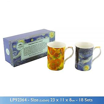 SET OF 2 VAN GOGH COLLECTION CASTLE FINE CHINA TEA COFFEE MUGS