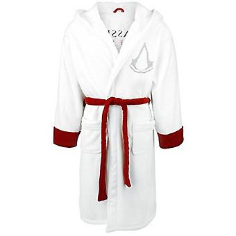 Assassins Creed Adult White Fleece Bathrobe White/Red