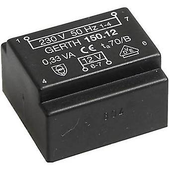 PCB mount transformer 1 x 230 V 1 x 9 V AC 0.35 VA 38 mA PT150901 Gerth