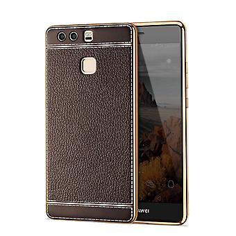 Mobile Shell para Huawei P10 Lite proteção caso bolsa bolsa para-choques do falso couro marrom