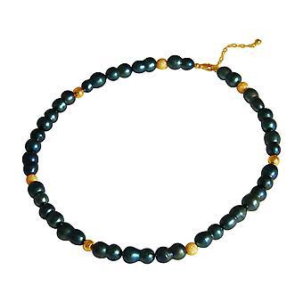 GEMSHINE halskæde barok beaded Tahiti grøn i 925 sølv eller forgyldt