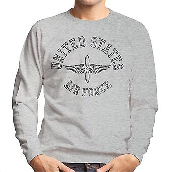 US Airforce Winged Propeller Black Text Men's Sweatshirt