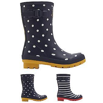 Womens Joules Molly medio hoogte afgedrukt kaplaarzen Waterdichte rubberen laarzen