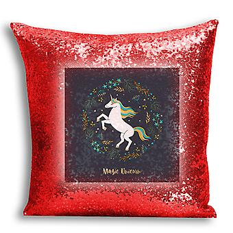 i-Tronixs - Unicorn Printed Design Red Sequin Cushion / Pillow Cover with Inserted Pillow for Home Decor - 12