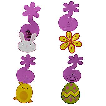 TRIXES Pâques Décorations tourbillons suspendus - Pack de 4 - Egg Bunny Chick and Flower -Colorful Designs