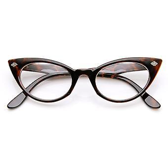 Damska Moda lat 60-tych Era liść akcent jasny obiektyw kot oko okulary