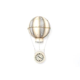 40Cm Hotair Balloon Style White Metal Wall Clock Ideal Home Decoration