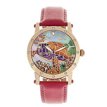 Bertha Chelsea MOP Leather-Band Ladies Watch - Rose Gold/Pink